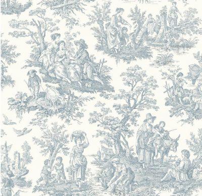 York Wallcoverings WA7830 Waverly Classics Country Life Wallpaper, Pure WhiteDelft Blue