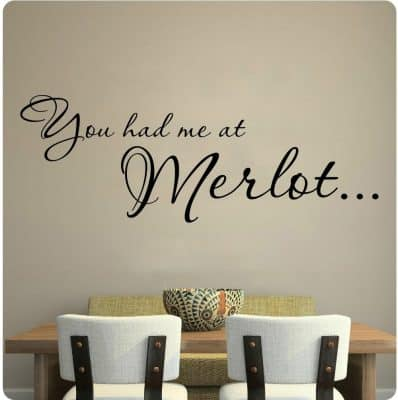 You Had Me At Merlot Wine Kitchen Grapes Wall Decal Sticker