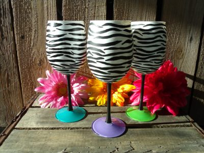 Zebra Hand painted wine glasses