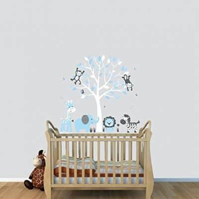 Fabric Tree Wall Stickers, Boy Animal Wall Stickers
