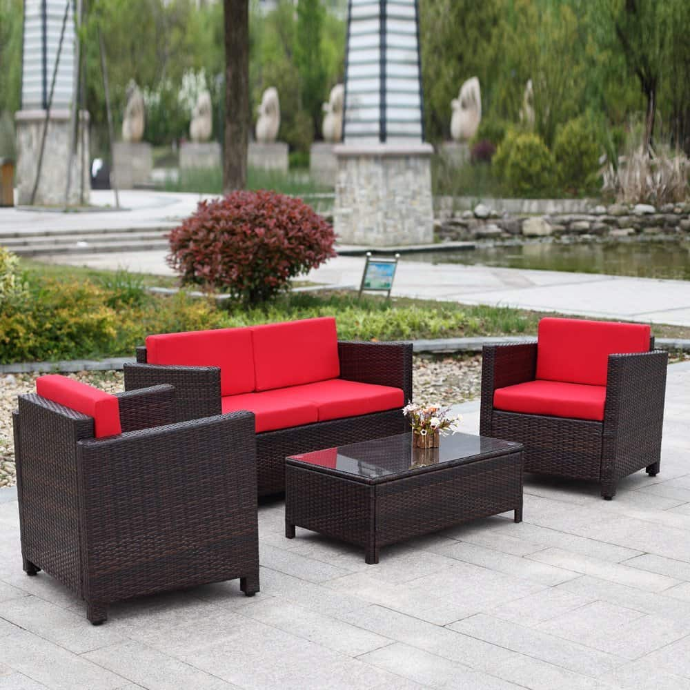 iKayaa 4PCS Patio Rattan Furniture Set Cushioned Outdoor Wicker Sofa Couch
