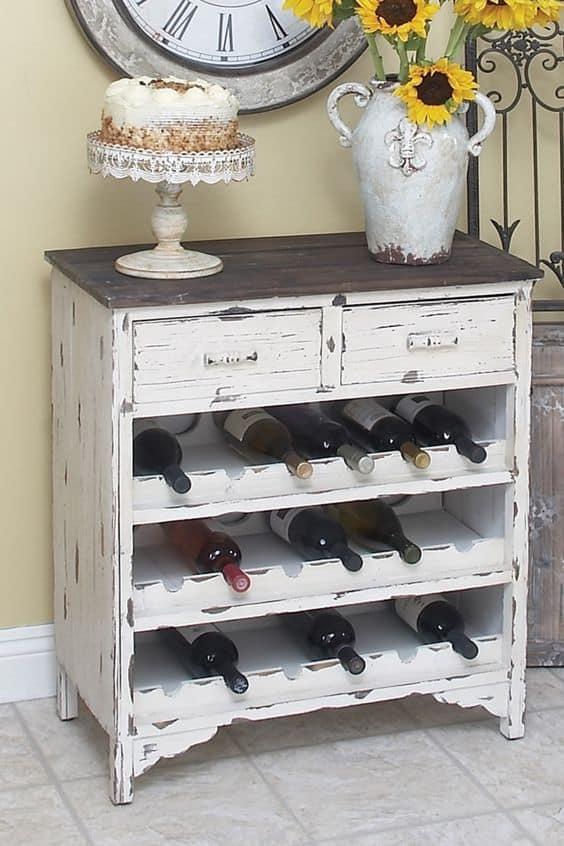 old cabinet wine rack