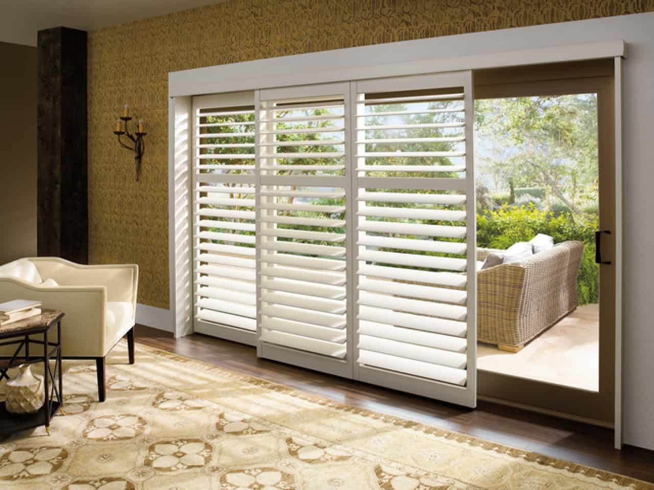Plantation shutters for sliding glass patio doors