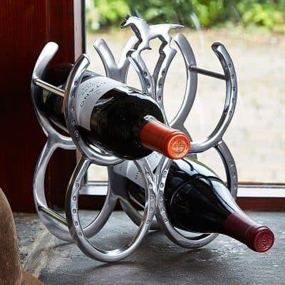 polished aluminium horseshoe wine rack.