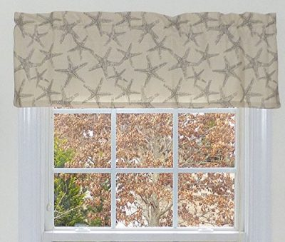 Gray Starfish Nautical Window Curtain Valance