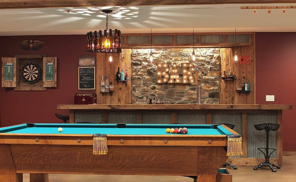Wooden L-Shaped Basement Bar area