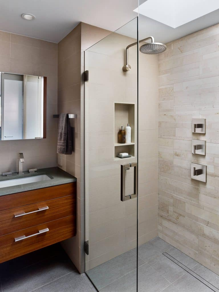 Slates of Light Wood bathroom shower tile