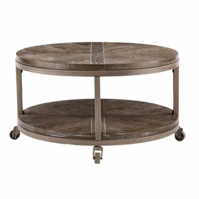 Round table on wheels with a shelf at the bottom
