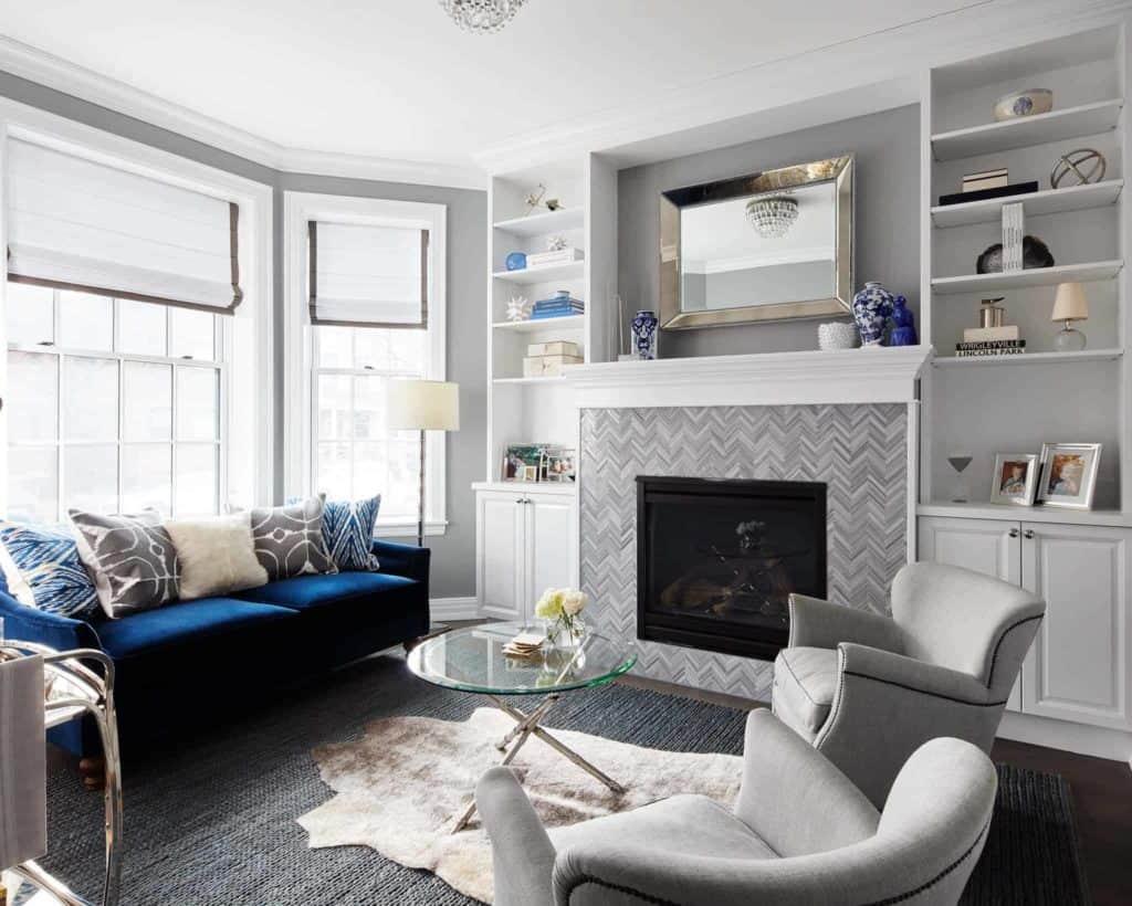 tiled fireplace ideas - grayscale color scheme