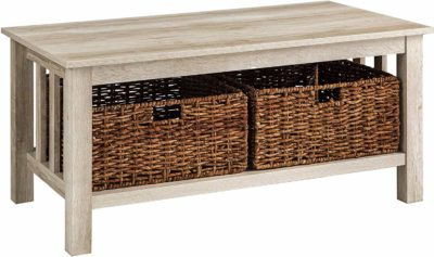 Wooden rectangular table with storage baskets