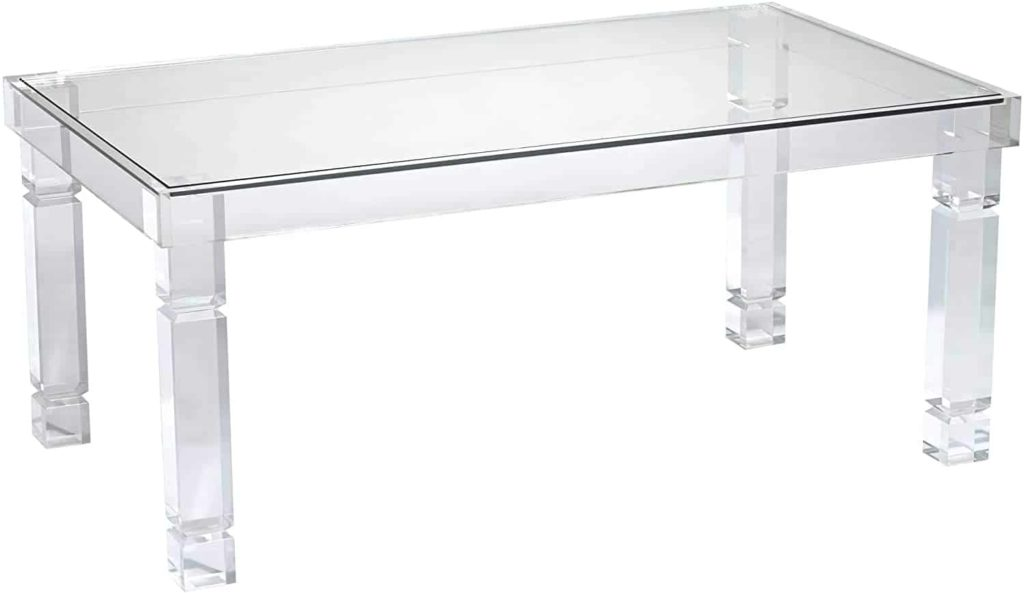 Rectengular table, tempered glass top, acrylic decorated legs
