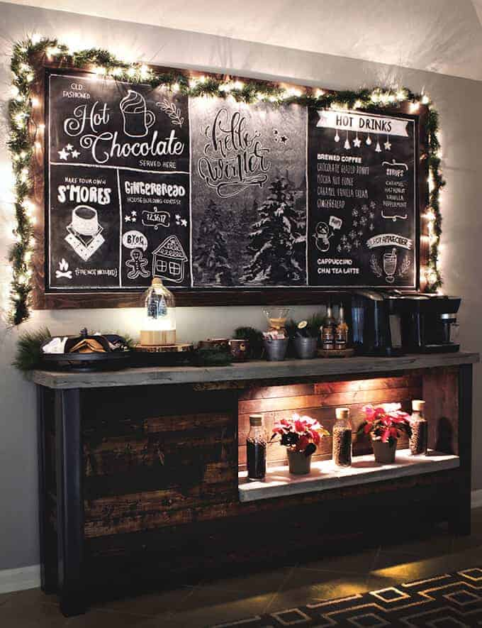 Cozy Cabin Chalkboard coffee bar ideas