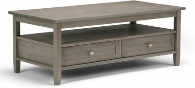 Wooden rectangular table with a shelf and 2 drawers