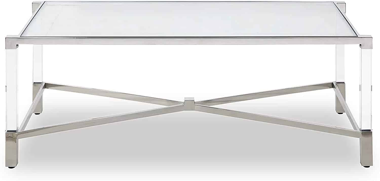 Rectengular table, tempered glass top, stainless steel frame, acrylic legs