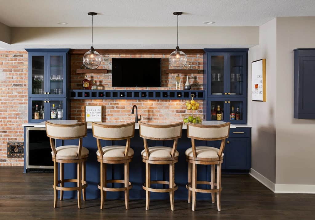 Transitional Galley Basement Wet Bar