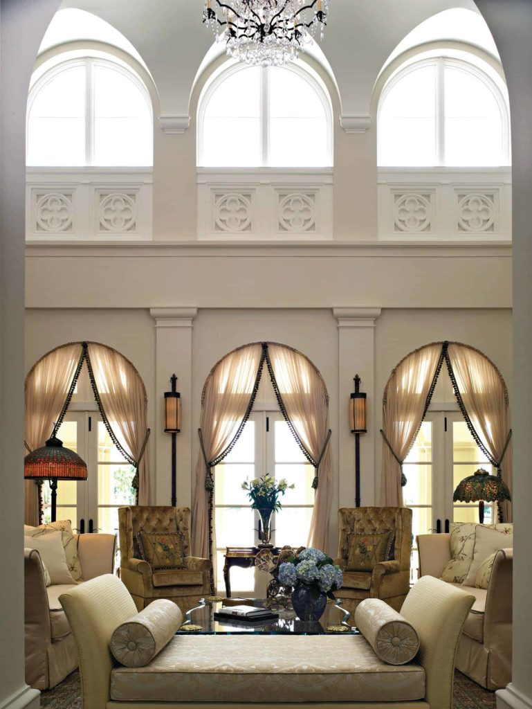 draped coverings on the French doors