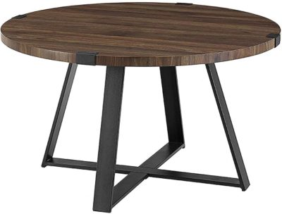 Round wooden table with metal support