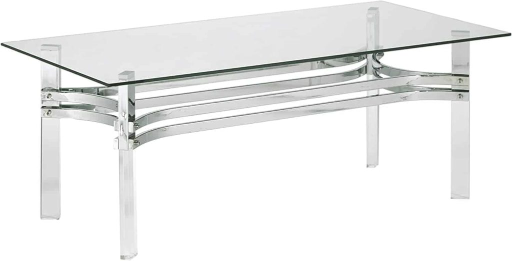 Rectengular tempered glass top, stainless steel braces, acrylic legs