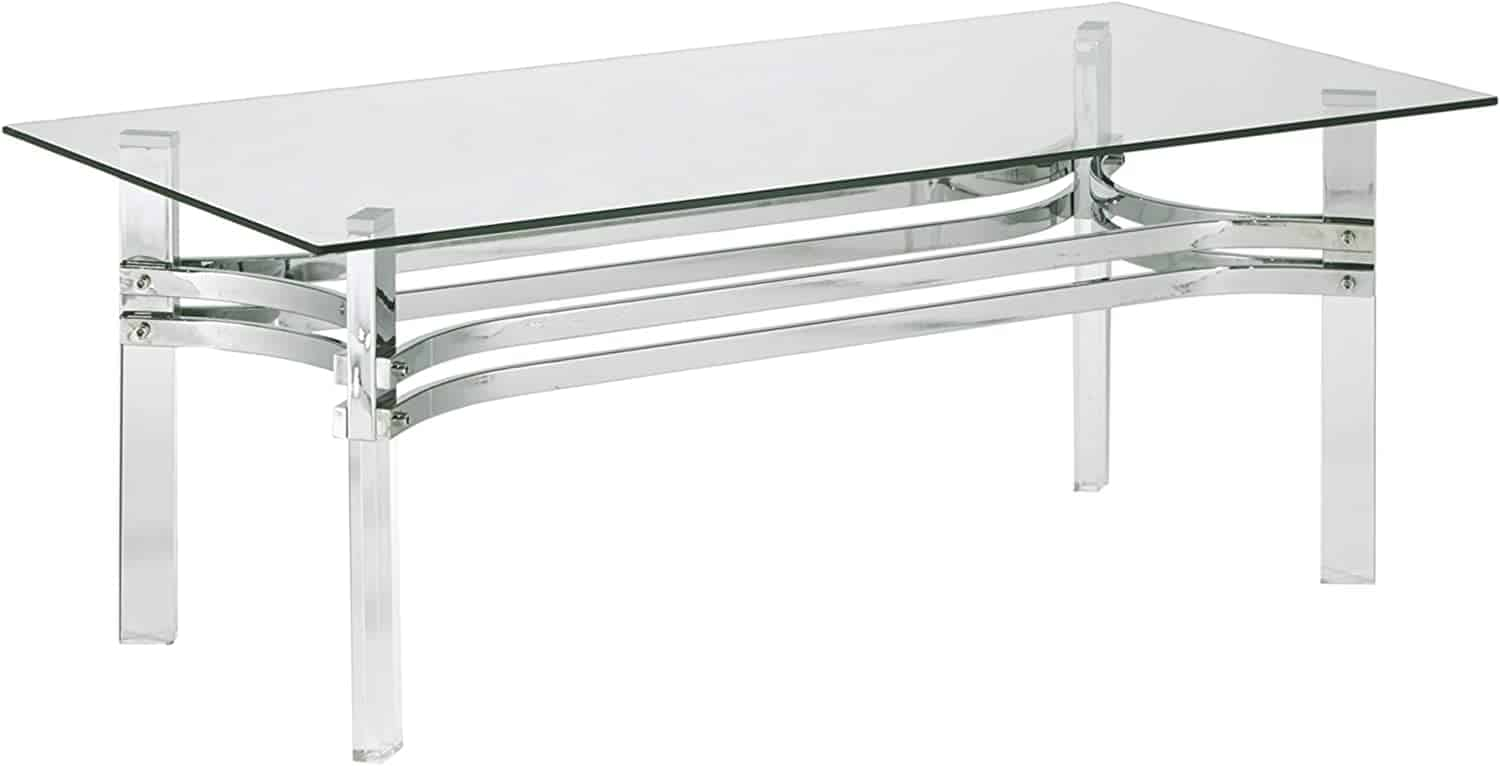 Rectengular tempered glass top, stainless steel braces, acrylic legs