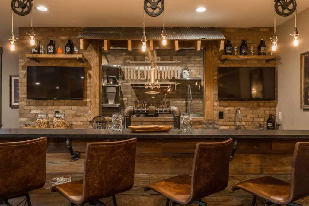 Chic Industrial Bachelor Bar Idea