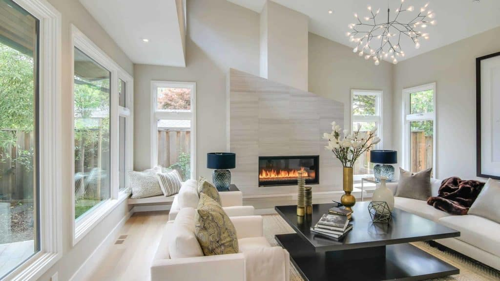 tiled fireplace ideas - Monochromatic Doesn't Have To Be Bland