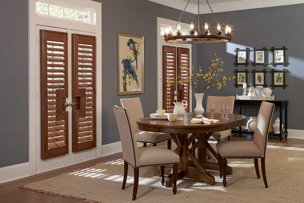 walnut wooden shutters