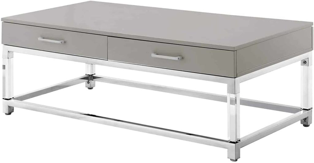 Grey fibreboard top with 2 drawers, stainless steel base, acrylic legs