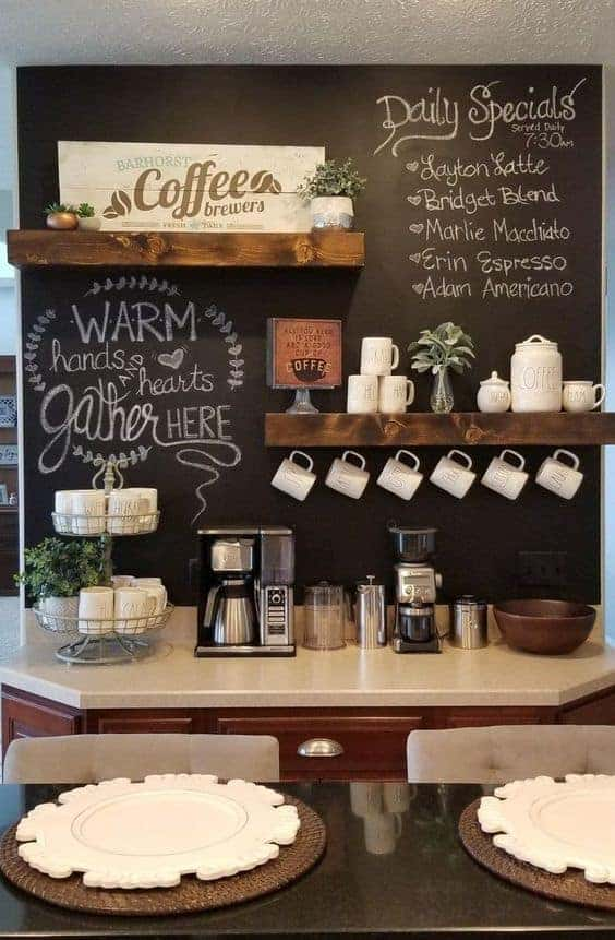 Cafe-Style Chalkboard Walls Coffee Station at Home
