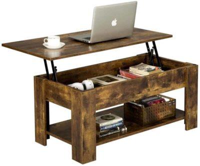 Wooden rectengular lif top table, storage under the top, shelf on the bottom