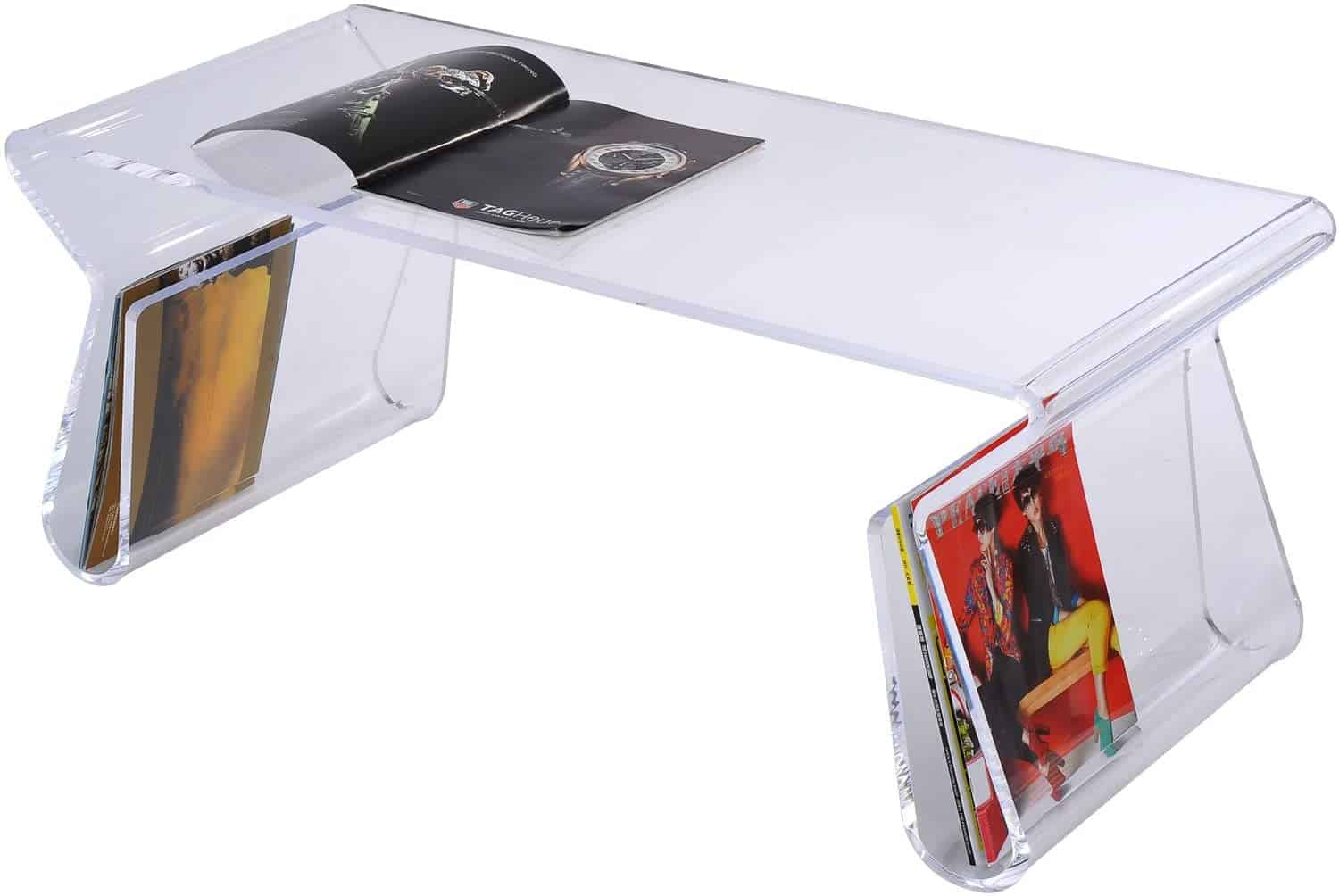 Acrylic rectengular table with bended legs that act like magazines storage