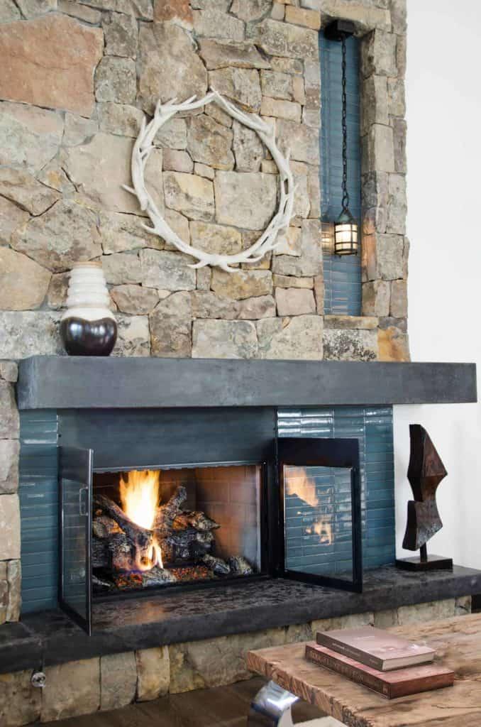 tiled fireplace ideas - rustic simplicity