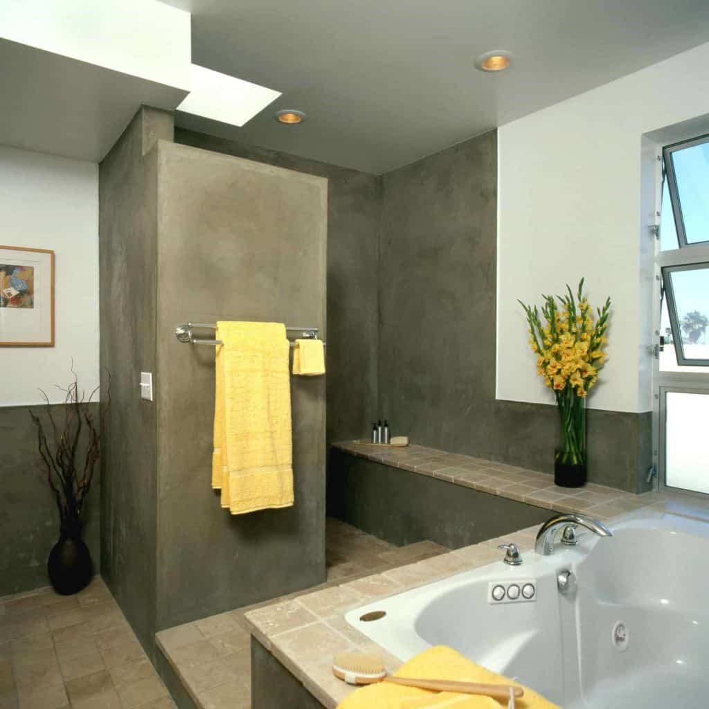 Mid-Century Modern Concrete walk in shower designs without doors
