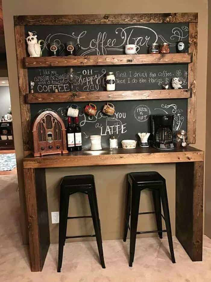 coffee bar ideas With Shelved Chalkboard