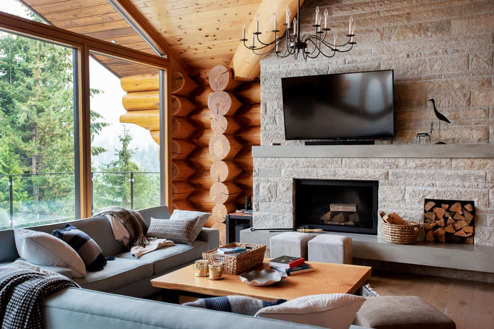 Wooden cabin living room look with L-Couch and Cozy Pillows