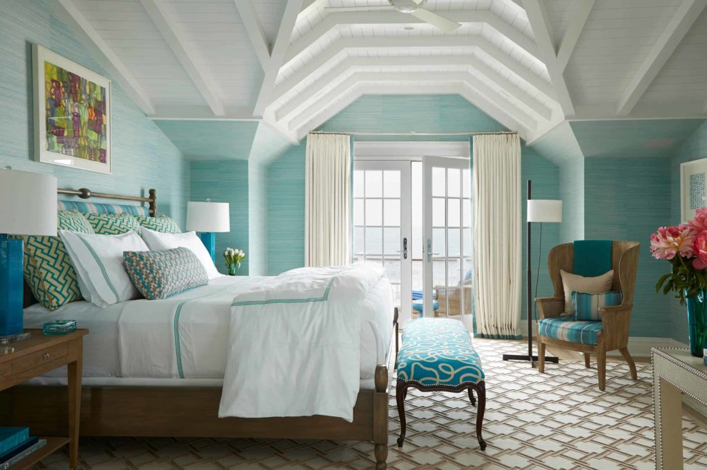 floor to ceiling solid cream coverings over the French Doors