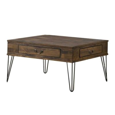 Rectengular wooden table with drawers and metal legs