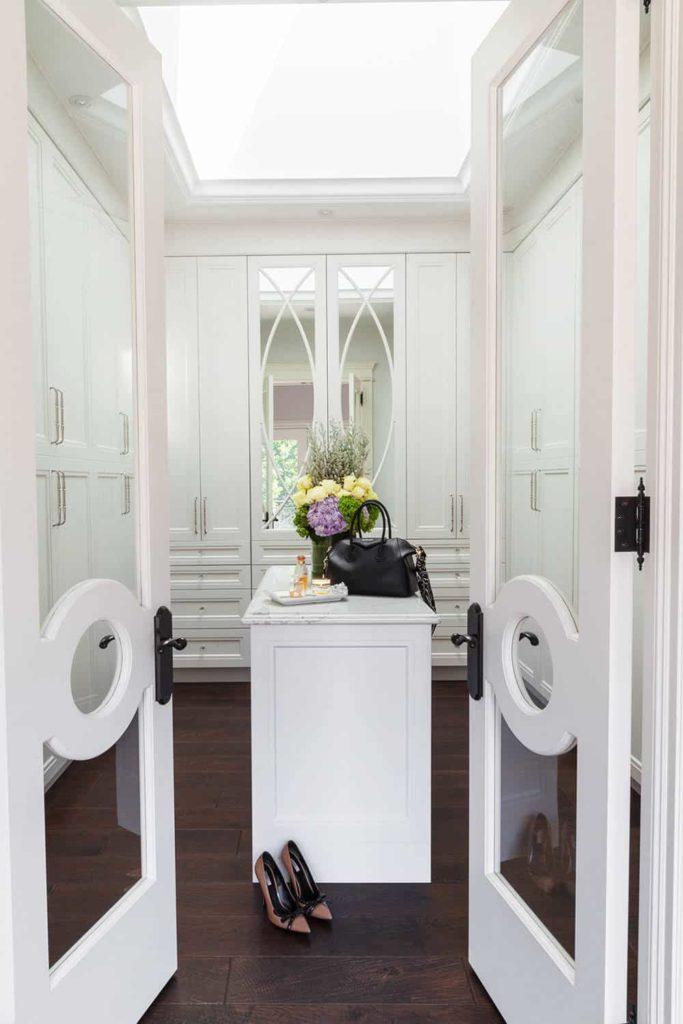 Custom Geometric Glass Double Doors