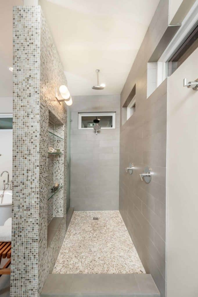 Transitional Tile Galley walk-in Shower