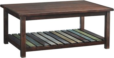 Wooden rectengular table with muli-colored shelf