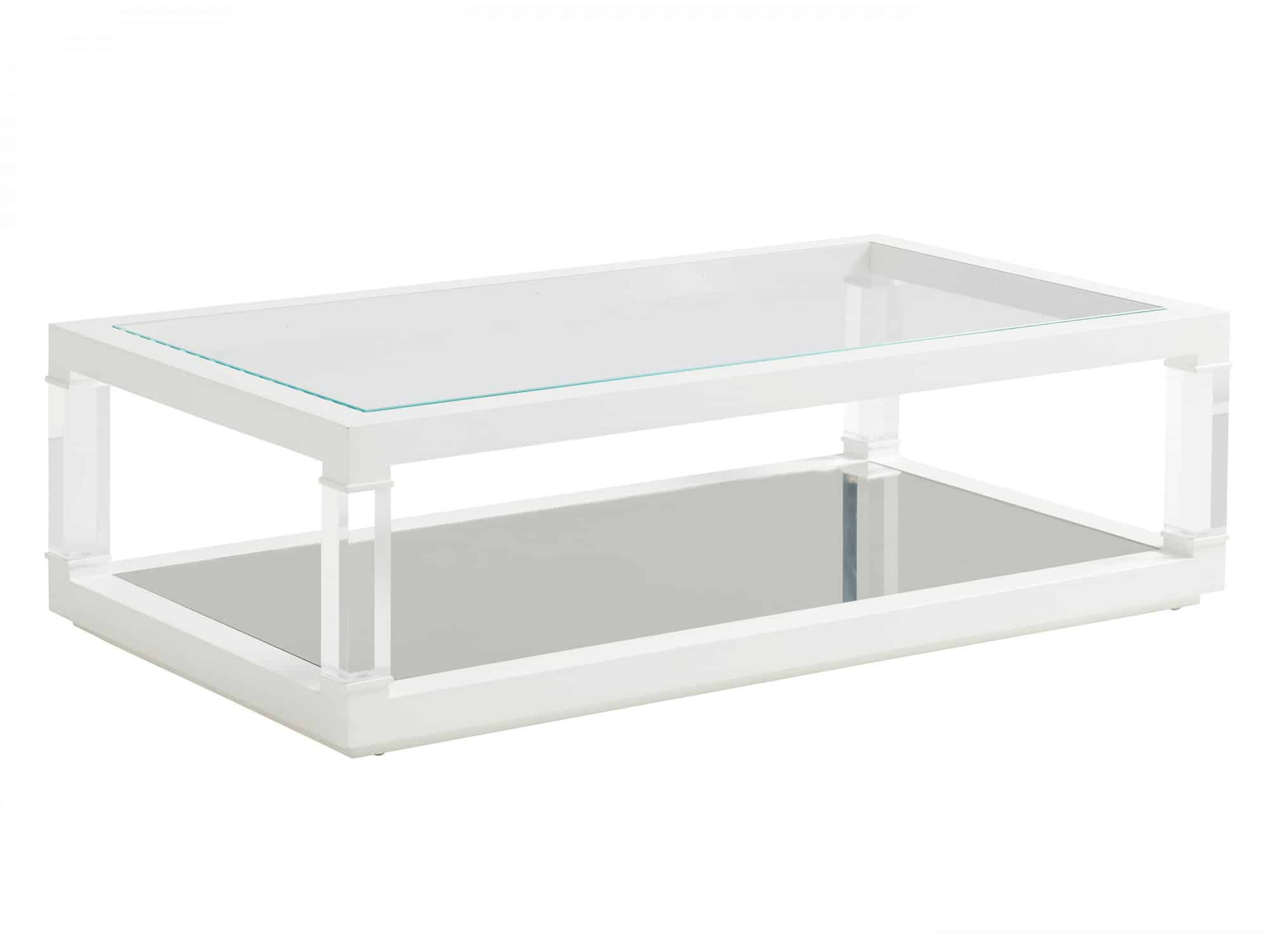 Rectengular table with acrylic base and legs, inset glass top, mirrored bottom shelf