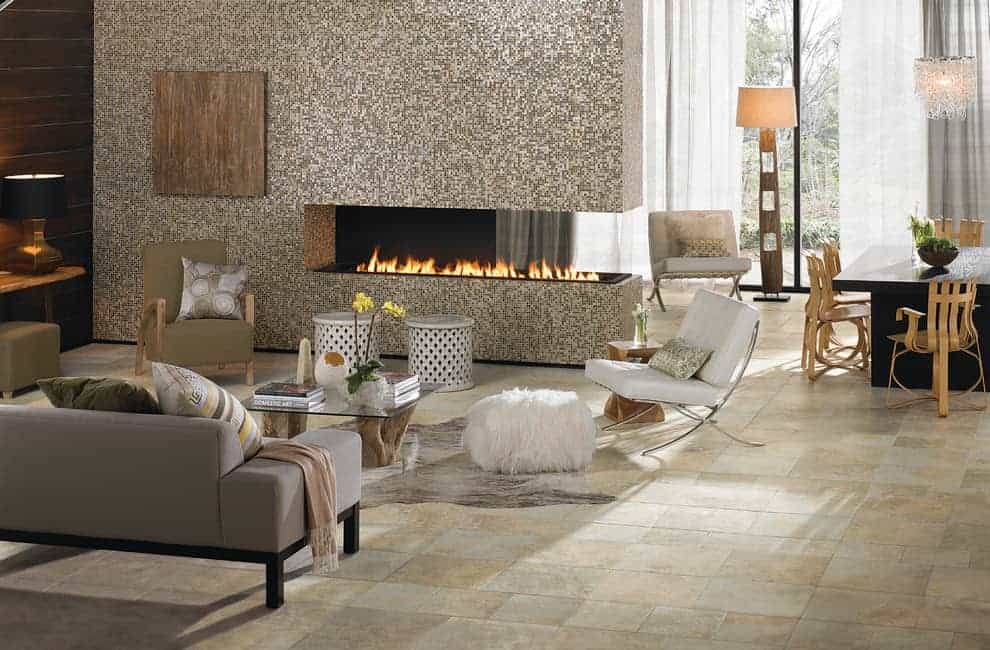 tiled fireplace ideas - mosaic tiles on this metallic fireplace