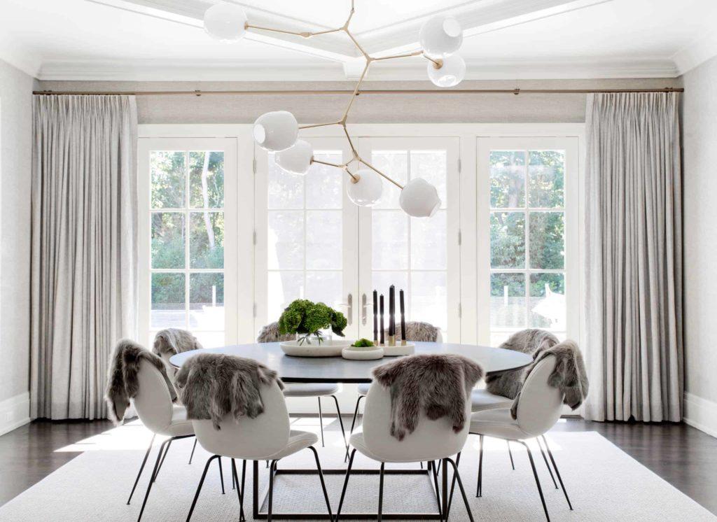 Floor to ceiling white drapery