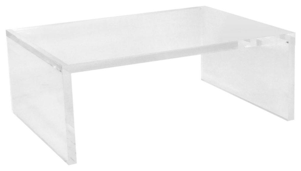 Acrylic rectengular table with straight legs
