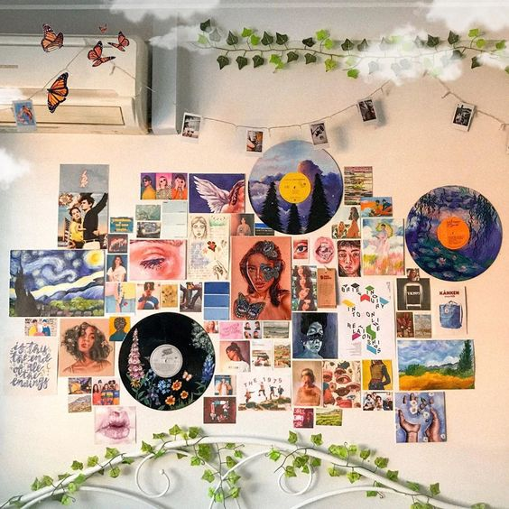 Bedroom with colored records on walls 20+ Aesthetic Bedrooms