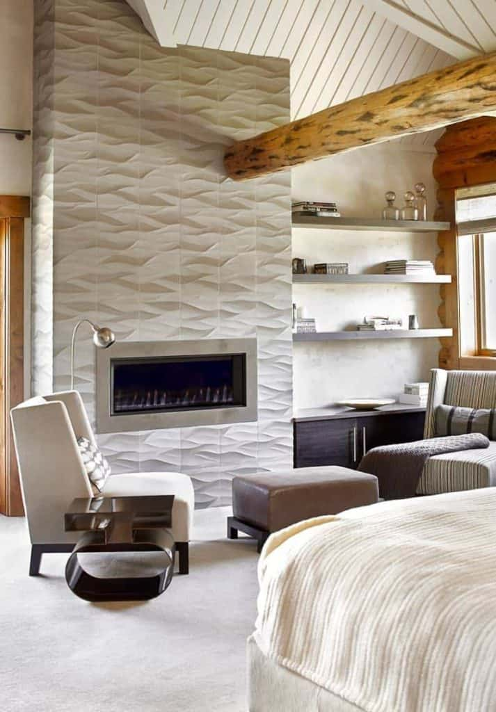 tiled fireplace ideas - gray accent tile around the insert gives an extra boost to the design