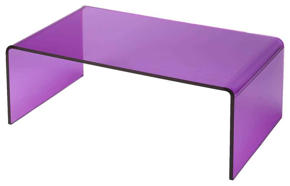 Purple rectengular table with rounded sides