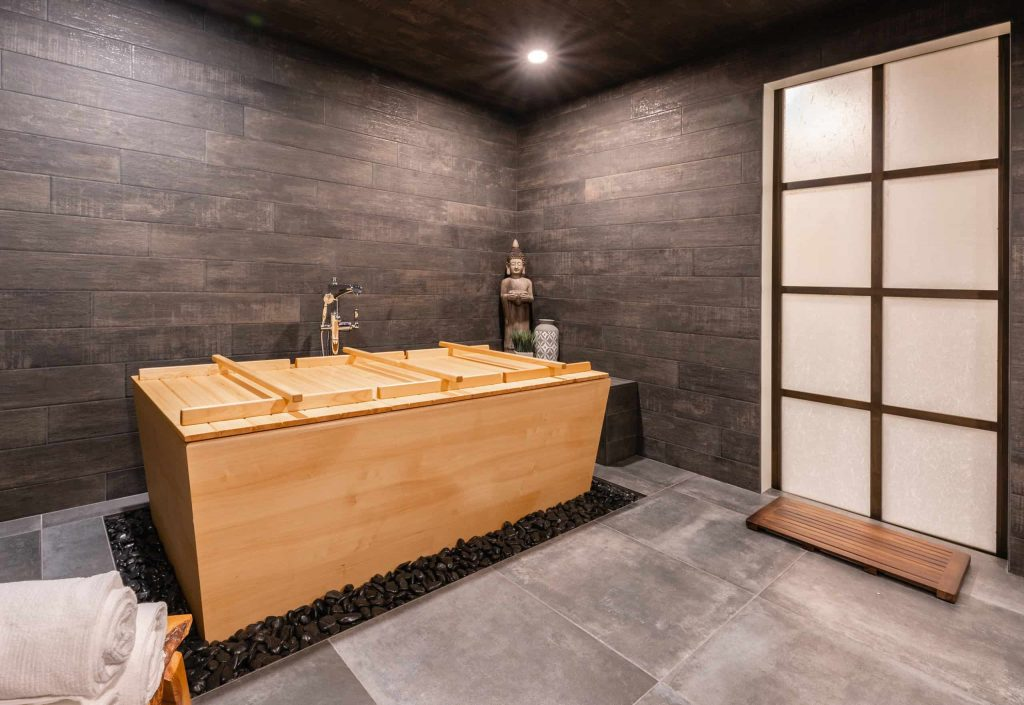 porcelain tile and gray floor bathroom photo