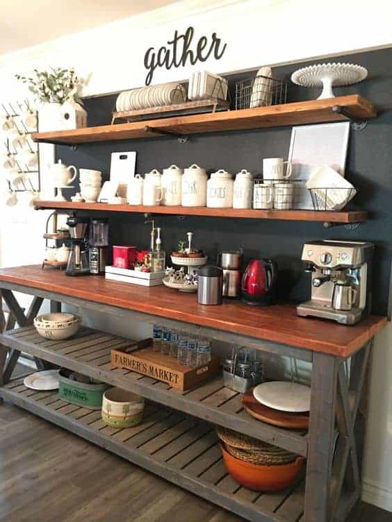 Farm Shelving Kitchen Coffee Station