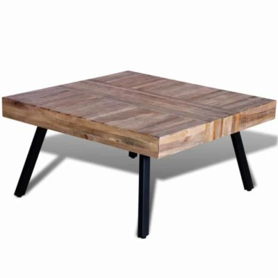 Wooden square table with metal legs