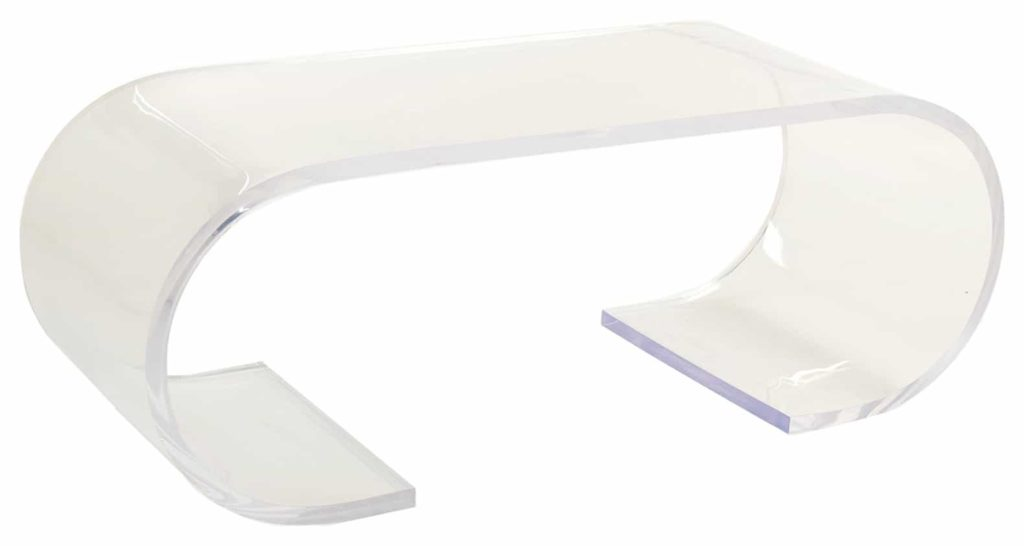 Acrylic rectengular top with rounded legs(almost oval shaped)